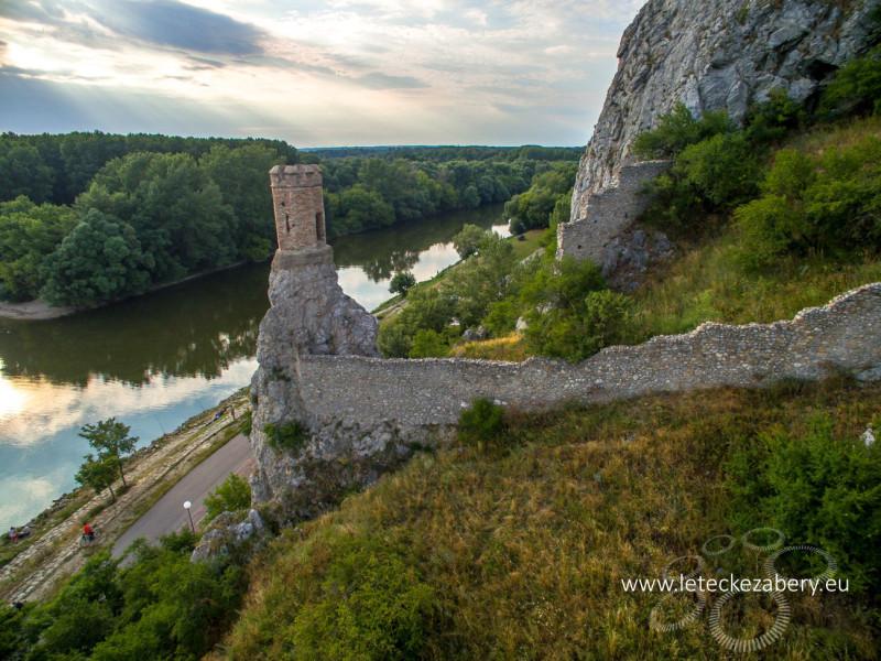 letecké zábery hrad Devín, vežička