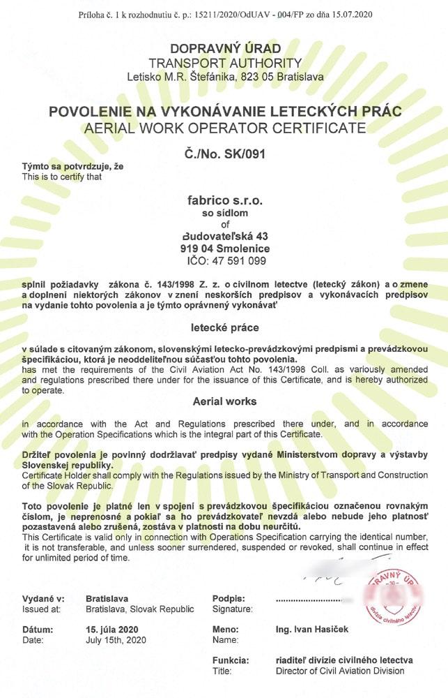 letecké práce povolenie